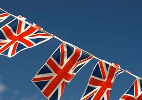 Union jack bunting hung for Royal Wedding street parties all over the country
